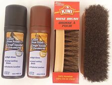 KIWI SHINE BRUSH & LIQUID SHOE POLISH BLACK OR BROWN KIT , SELECT: Items