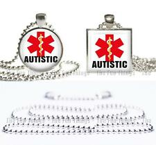 Autistic Medical Alert Necklace Glass Top Pendant Silver Bezel Setting & Chain