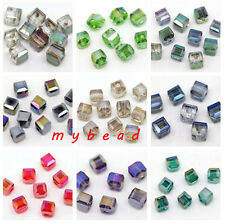 4mm/6mm Jewelry Diy Czech Crystal CUBE Nice Loose Glass BEAD Lot AB Color