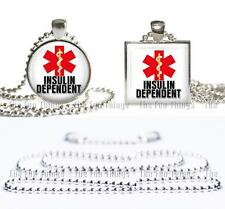 Insulin Dependent Medical Alert Necklace Glass Top Pendant & Ball Chain