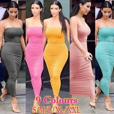 Sexy Strapless Tube Stretch Bodycon Bandage Club Casual Party Maxi Long Dress A