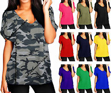 New Ladies Baggy Loose Fit V Neck Top Turn Up Short Sleeve Top T Shirt Size 8-30
