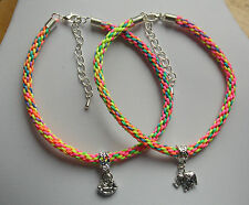 elephant buddha cord braided bracelet anklet charm silver plated multi coloured