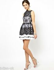 NEW LADIES JONES & JONES FLORAL ORGANZA PROM DRESS BLACK/WHITE UK SIZE 14