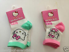 2 pairs girls Hello Kitty socks Pink or Mint & White Baby Socks 0 - 6 months