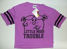 Girls Purple T Shirt top with 'Little Miss Trouble' detail