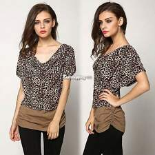 NEW Women's Batwing Short Sleeve Loose Leopard Casual T-Shirts Blouse Tops ES