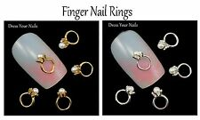 """""""Solitaire Cream Pearl Finger Nail Ring"""" 3d Alloy Metal Nail Art Wedding Crafts"""