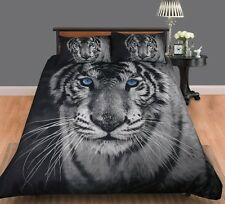 White Tiger Digitally Printed Quilt Doona Cover Set - SINGLE DOUBLE QUEEN KING