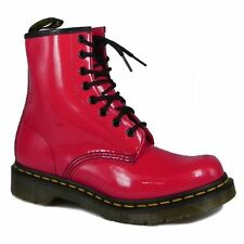 New Dr Martens docs womens RED PATENT (SHINEY) leather 1460  8up boots