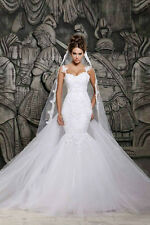 New White Mermaid Wedding Dress Bridal Gown Stock US size 4 8 10 12 14 16 16w