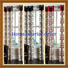 Laurel Faux Silk Fully Lined Leaf Design  Eyelet Curtains