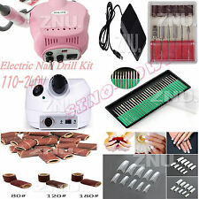 Pro 30000RPM Electric Nail Drill Kit Machine Sanding Bands File Bit Manicure Set
