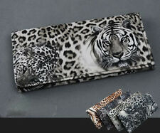 Attractive lady Tiger Leopard Print Long Wallet Purse Coin Bag Card Clutch