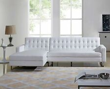 Dorris Faux Leather Modern Left Chaise Sectional Sofa Set-White or Black Option