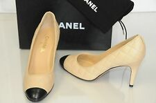$850 New Chanel Beige Black Leather Pumps Classic CC Logo Heels Shoes 40