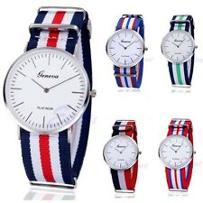New Design Men's Watches, Fabric Strap, Mens Wrist Watch, Geneva stripe Watch.