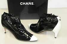 $1195 New Chanel Black Leather CC Logo Ankle Booties Boots Shoes Bag 41