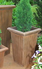 """27"""" TALL METAL PLANTER INDOOR OUTDOOR GARDEN CONTAINER PATIO LARGE TAPERED BOX"""