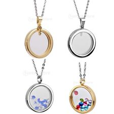 Stainless steel Living Memory Floating Locket Round Charm Pendant Necklace Gift