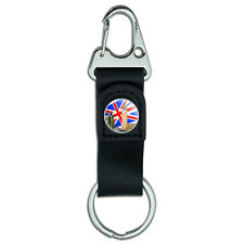 Belt Clip On Carabiner Leather Keychain Fabric Key Ring Places and Things