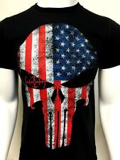 USA flag Punisher Skull t shirt tactical 100% cotton new police
