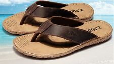 Vintage Mens flip flops genuine leather slipper shoes Thong beach casual sandal