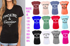 Ladies Cocaine and Caviar Print Roll Up Cap Sleeve Womens Top T-Shirt 8-14