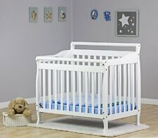 Portable Convertible Cribs Baby Bed 4 In 1 Mattress Infant Toddler White Black