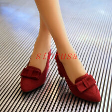 Vintage Faux Suede Pointed Toe Pumps Womens Bowknot Casual Loafers Oxfords Shoes