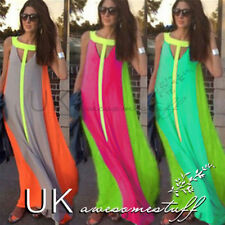 UK Womens Ladies Boho Sexy Summer Beach Evening Party Long Maxi Chiffon Dress