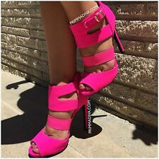 HOT PINK HIGH HEELS CAGED PEEP TOE OPEN STILETTO PLATFORM PUMPS ANKLE NEW