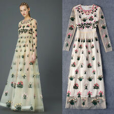 women fashion elegant Vintage embroidery Runway Italian Designer lace long dress