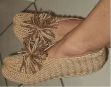 Hand Knitted Knit Ladies Slippers One Size Fits Most Choose Color 6 7 8 9 10