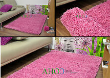 Pink Small X Large Modern Plain 5cm Shaggy Rugs Thick Soft Pile Area Rug Mats
