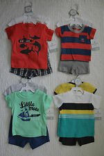 NEW BABY BOYS CARTERS 3 PIECE SET SHIRT, BODYSUIT & SHORTS OUTFIT VARIOUS STYLES