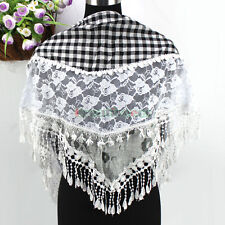 New Vintage Floral Lace Stitching Cotton Gauze Plaids With Tassel Triangle Scarf