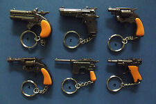 MINIATURE NOVELTY SOLID METAL GUN HANDGUN KEYRING - 6 DESIGNS TO CHOOSE