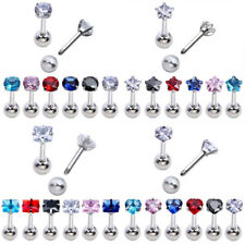16G 4mm CZ Gem Steel Ear Tragus Cartilage Helix Stud Earring Barbell Piercing