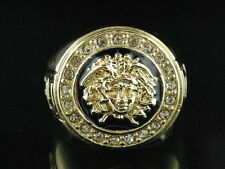 Mens Brass 14k Yellow Gold Finish Medusa Iced Out 1 Head Band Pinky Ring
