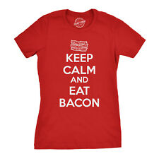 Women's Keep Calm And Eat Bacon T Shirt Funny Bacon Shirt Bacon Tee For Women