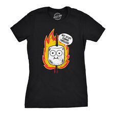 Womens Hot Stuff Coming Through Tshirt Funny Marshmallow Campfire Smores Tee
