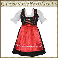 German Bavarian Oktoberfest Trachten 3 Pc Red Dirndl Dress, Available All Sizes