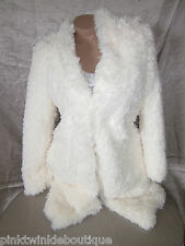 Nwt Ivory Cream Faux Sherpa Fluffy Fur Furry Coat Tunic Jacket