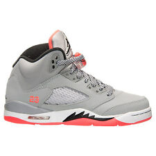 JORDAN GIRLS RETRO 5 WOLF GREY HOT LAVA GS GRADE SCHOOL SZ 4-9 Y  440892-018