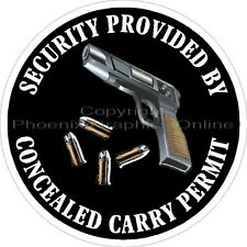 Security Provided By Concealed Carry Permit Reflective Decal Sticker Police