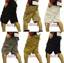 CARGO SHORTS 7 COLORS SIZE 32 - 44, THICK CARGO PANTS, POLO STYLE 100% COTTON