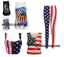 Ladies Women's USA American Flag Print Crop Vest Sleeveless Top Leggings Bralet