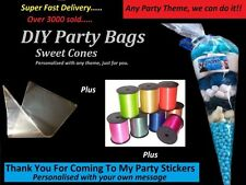10 - 50 PERSONALISED DIY SWEET CONES KIT BIRTHDAY PARTY BAGS - ANY THEME