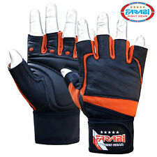 Farabi Weight Training Gym Fitness Bar Body Building Fitness Gloves Leather